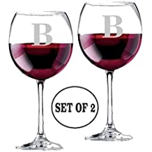 Personalized Monogrammed Letter B | Long Stem Red Wine Glasses | Etched Engraved | Perfect Fun Handmade Present for Everyone | Lead Free | Dishwasher Safe | Set of 2