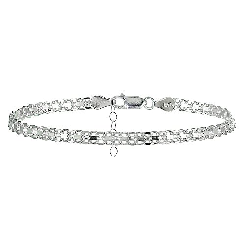 Sterling Silver Dangle Heart Anklet - Hoops & Loops Sterling Silver Bismark Design Anklet