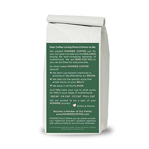 Mommee Coffee - Quarter Caff, Low Acid Coffee   Organic, Fair Trade, Water Processed   Ground, 12oz.