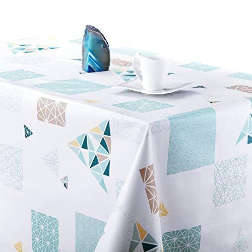 KP Home Manteles Hule Modernos Scandic Blanco con Turquesa de PVC Facil de Limpiar - 200 x 140 cm - Mantel Rectangular de Vinilo Plastico Facilmente Limpiable con Diseno de Escandinavia Geometrico