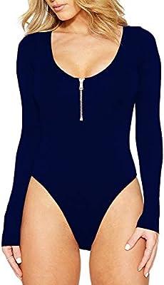 f8064cf7cb Guiran Mujer Manga Larga Body Camisas de Fiesta Mono Elegantes Azul 2XL.  Cargando imágenes.