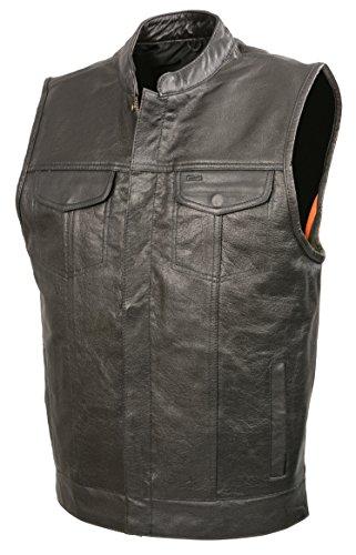 Mens SOA Leather Club Style Vest W/PATCH ACCESS FEATURE, Concealed Gun Pockets, Premium Buffalo Leather Biker Vest (Black, 2X)