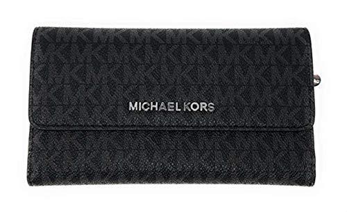 Michael Kors Jet Set Travel Large Trifold Leather Wallet (Black PVC 2018)