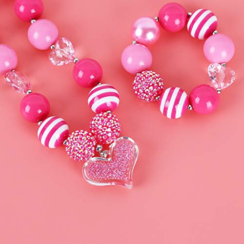 3 otters Chunky Bubblegum Necklace, Chunky Bubblegum Beaded Necklace and Bracelet Set Girls Chunky Necklace Play Jewelry Necklace Peach Heart Pendant Necklace