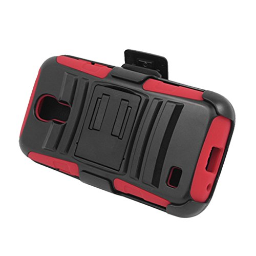 Eagle Cell Hybrid Skin Case with Holster and Stand for Samsung Galaxy S4 Mini - Retail Packaging - Red/Black