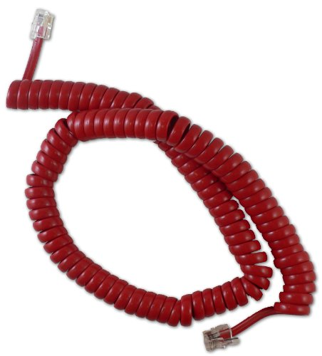 1200 Telephone (BIN CABLESYS 1200RD 12ft Coiled Telephone Handset Cord (GCHA444012-FCR) Red)