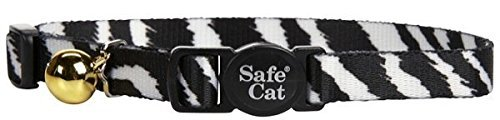 Coastal Pet Products CCP6781ZEB Fashion Safe Cat Adjustable Breakaway Collar with Bells, Zebra
