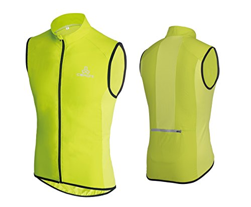Ceroti Pro Micro Windproof & Reflective Men's SS Cycling Vest Hi-Vi/Bicycle Riding Gilet Bike Biking wear, Green, - Cycling Vest Men