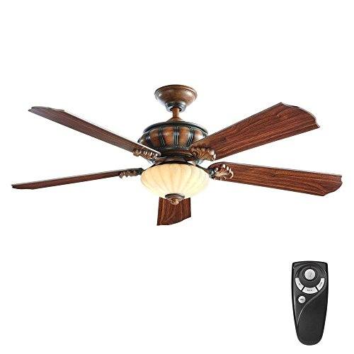 - Home Decorators Collection Abigail 52 in. LED Indoor Mediterranean Dark Walnut Ceiling Fan with Light Kit and Remote Control