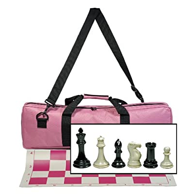 WE Games Premium Tournament Chess Set with Deluxe Pink Canvas Bag, Super Weighted Staunton Chess Pieces - 4 Inch King