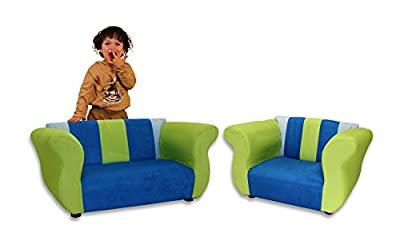 KEET Sofa and Chair Fancy Kid's Set, Blue/Green