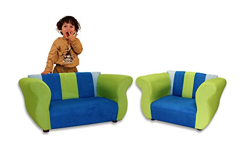 KEET Sofa and Chair Fancy Kid's Set, Blue/Green by Keet