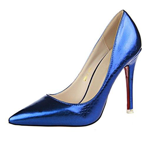 HooH Damen Pointed Toe Snakeskin Rot Sohle Abendschuhe Pumps Blau