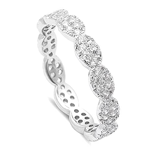 Sterling Silver .925 Cubic Zirconia CZ Women's Antique Vintage Design Pave Eternity Wedding Band Ring Size 4-10 (Antique Ring Band)
