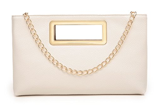 Clutch Purse for Women Evening Party Tote with Shoulder Chain Strap Lady Handbag Beige