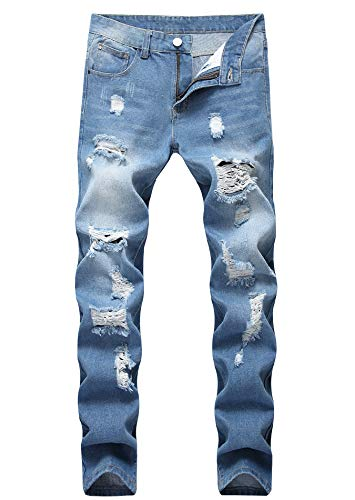Men's Light Blue Skinny Fit Ripped Destroyed Distressed Stretch Fashion Denim Jeans ()