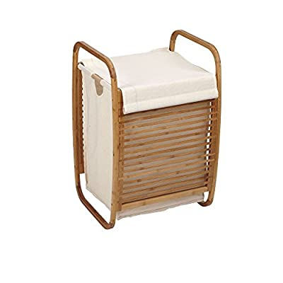 Household Essentials Compact Bamboo Laundry Hamper - Single load hamper with bamboo frame and slatted front and back Rounded bamboo frame doubles as handles Fabric lid with hook and loop attachment and weighted front overlap - laundry-room, hampers-baskets, entryway-laundry-room - 41la81h2R8L. SS400  -