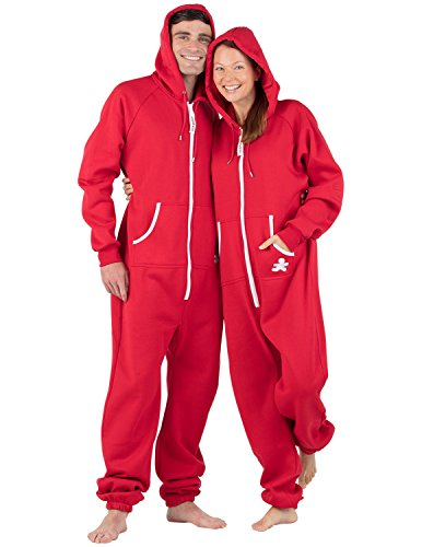 Footed Pajamas Red & White Adult Footless Hoodie One Piece - Medium Plus/Wide