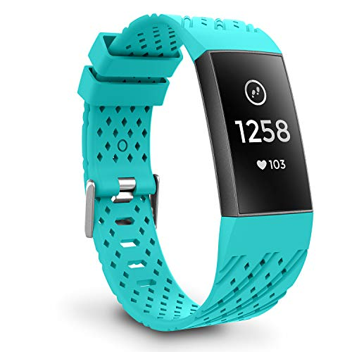 Greeninsync Compatible Bands Compatible for Fitbit Charge 3,Replacement for Fit bit Charge 3 SE Wristbands W/Secure Metal Clasp Strap Large for Fit Bit Charge3 Smart Watch Women Men Girls Boys-Teal ()