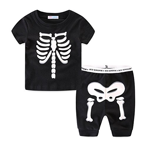 Mud Kingdom Little Boys Pajamas Glow-in-The-Dark Screen-Printed Skeleton Bones Short Set Size 5 Black]()
