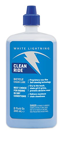 Lubricant Chain - White Lightning Clean Ride The Original Self-Cleaning Wax Bicycle Chain Lubricant, 8-Ounce Drip Squeeze Bottle