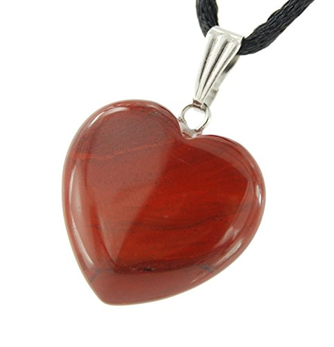 Big Heart Collection - 20mm Classic Red Jasper - 20-22 inch Black Cord - Crystal Gemstone Carved Necklace Charm Handmade