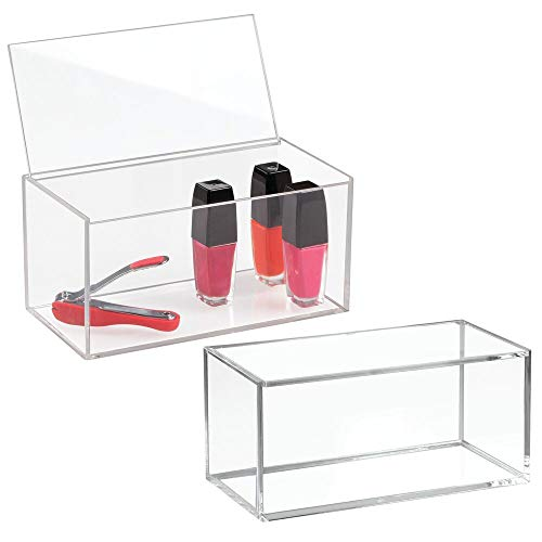 mDesign Large Makeup Organizer Box with Lid for Bathroom Vanity Countertops, Cabinet - Store Makeup Brushes, Eye Shadow Palettes, Lipstick, Lip Gloss, Blush, Jewelry - Plastic, 2 Pack - Clear