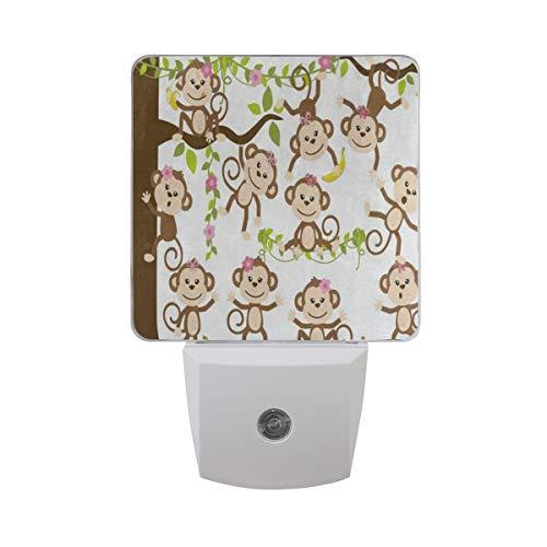 LED Night Light Funny Monkey Tree with Banana Auto Senor Dusk to Dawn Night Light Decorative Plug in for Kids Baby Girls Boys Adults Room Set of 2 (Lamp Fish Banana)