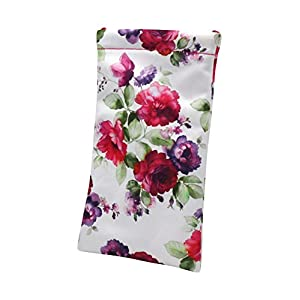 Sunglass Pouch & Eyeglass Pouch | Rachel Rowberry Floral Roses Design | XL Squeeze Pouch with Cleaning Cloth | A Medium To Oversized Sunglasses Case | Smart Phone Case & Makeup Pouch (Cranberry Rose)