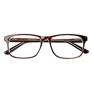 Glassesshop Retro Optical-Quality RX-Able Eyeglasses Rectangle Eyewear Frame-Brown