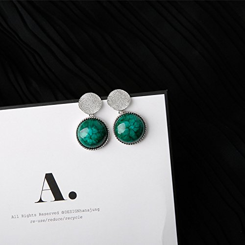 - (Ss) Retro natural emerald earrings irregular geometric sequins