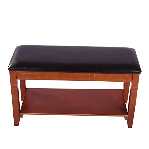 Solid Wood Storage Shoe Bench Entryway Shoe Rack Faux Leather Hallway Bench shoe organizer (80cm) (Brown)