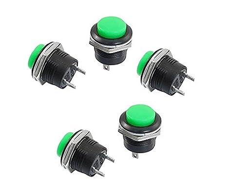 10 x Bouton-poussoir//commutateur SPST AC 6A//125V 3A//250V Tete ronde Vert