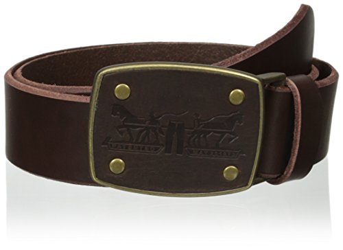 [Levi's Men's Levi Belt with Leather Inlay Logo Buckle Belt] (Leather Logo Buckle Belt)