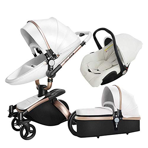 TZZ Luxury 3 in 1 Baby Stroller High Landscape Foldable Pram Carriage with 5-Point Safety Belt, for Toddler Girls and Boys (Color : White)