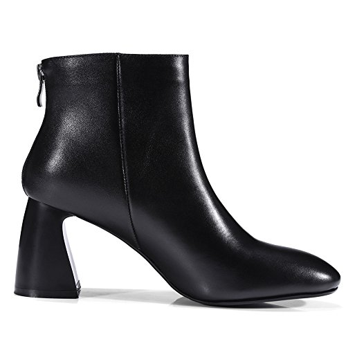 Ankle Nine Designed Boots Round Handmade Toe Genuine Heel Business Leather Basic Seven Women's Black Chunky pqBprw7z