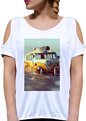 T SHIRT JODE GIRL GGG27 Z1491 HIPPIE VAN FLOWER POWER MUSIC 60'S SUMMER FUN FASHION COOL BIANCA - WHITE XL