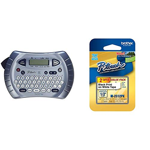 Brother P-touch Label Maker, Prints 1 Font in 6 Sizes & 9 Type Styles, Silver & M-2312PK Tape, 2 Pack, 1/2