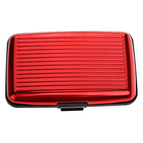 (Aluminum Alloy Bank Credit Card Package Striped Card Holder Business Card ID Card Case Gift Box (Red))