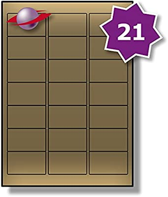 A4 Sticky Metallic Gold /& Silver 65 Labels Per A4 Sheet Permanent stickers