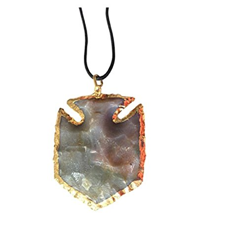 - Mirabella 'Warrior at Heart' Fancy Jasper Arrowhead Crescent Moon Traditional Native American Indian Fish Shape Pendant Natural Gemstone Necklace from India Gift Boxed (Arrowhead)