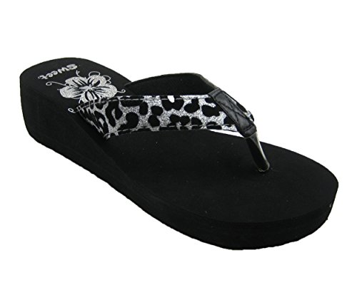 Cool Black Flip Flop Thong Low Platform Wedges Sandals w/ Leopard Print Strap in 3 Classy Colors (7, Black/Silver)