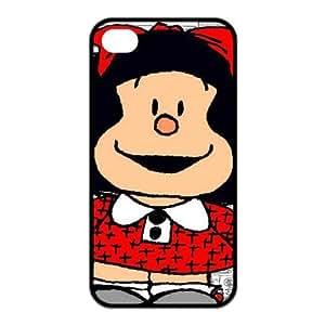 ROBIN YAM Cute Cartoon Mafalda iPhone 4S Case, Protective Hard TPU Rubber iPhone 4 4S Case Cover -ARY481