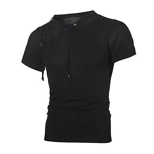 Casual Short Sleeve Top Beautyfine Fashion Personality Bandage Men's Slim Shirt Blouse ()