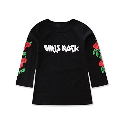 Fartido Kid Girl Letter Flower Print Casual Dress One Piece Clothes Fashion Black