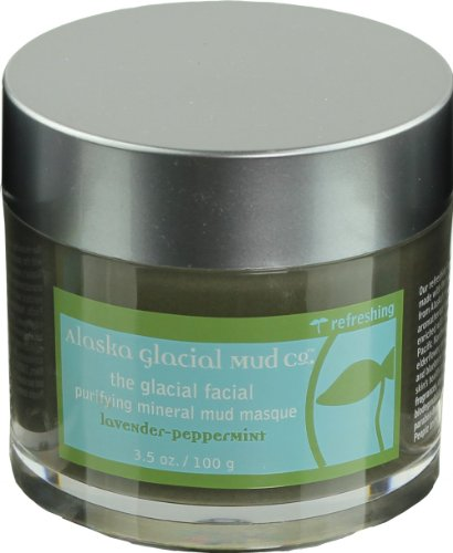 Alaska Glacial Mud Face Mud Masque Lavender Peppermint Mineral Facial Mask with Pure Organic Nutrient Rich Glacial Clay For All Skin Types, 3.5 Ounces