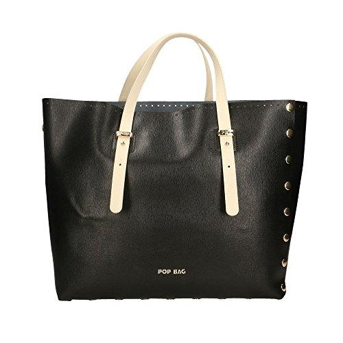 POP Bags - Borsa a Mano in Vera Pelle Made in Italy Stampa Saffiano - 34x31x15 Cm Nero - Nero - Crema