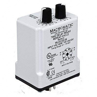 Macromatic - TR-55121-14 - Time Delay Relay, 240VAC Coil Volts, 10A Contact Amp Rating (Resistive), Contact Form: DPDT ()