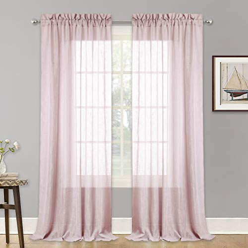 RYB HOME Linen Textured Sheer Curtains for Farmhouse, Solid Voile Drapes Light Through Drapery Window Decoration for Patio Doorway/Dinning Area, Blush Pink, Width 52 inch x Length 95 inch, Set - Solid Voile