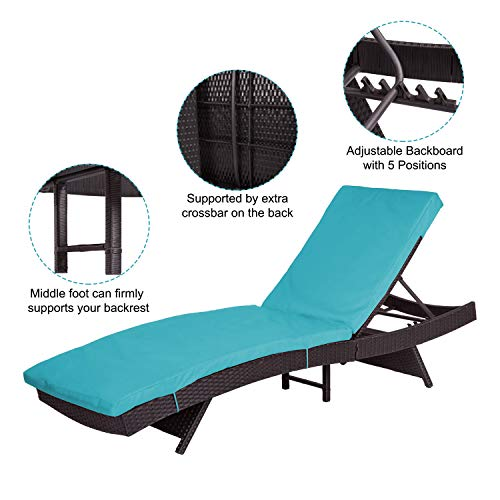 Peachtree Press Inc Peach Tree Outdoor Patio PE Rattan Wicker Adjustable Chaise Lounge Chair w/Blue by Peachtree Press Inc (Image #4)